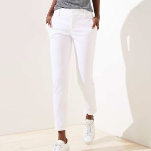 Loft Roll Cuff Girlfriend Chinos, White